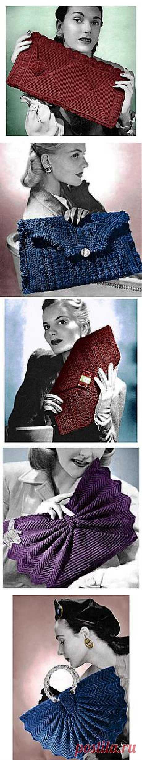 Vintage Crochet Pattern 1940s Envelope Clutch Purse Harlequin Handbag…