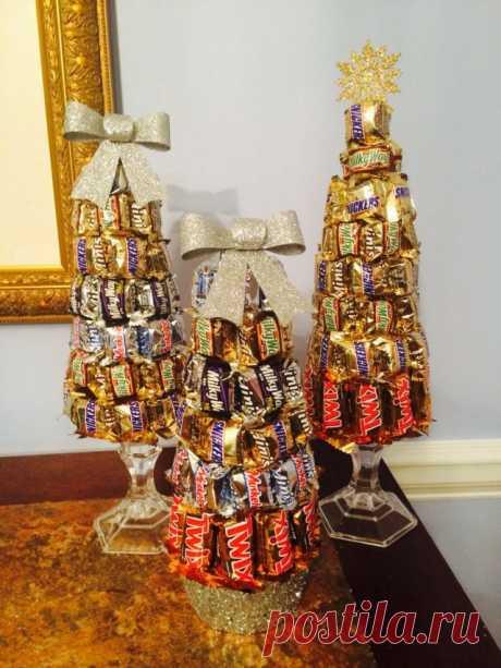Ёлки из шоколадок.