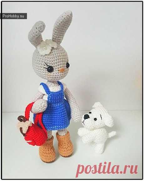 Заяц и собачка, друзья крючком / Вязание игрушек / ProHobby.su | Вязание игрушек спицами и крючком для начинающих, мастер классы, схемы вязания