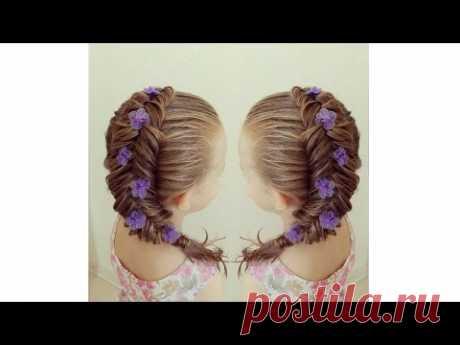 Romantic hairstyle - How to make a return fishtail? Как заплести обратный колосок?