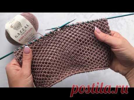 Сетчатый патентный узор спицами при поворотном и круговом вязании. Идеальный узор для кардиганов.