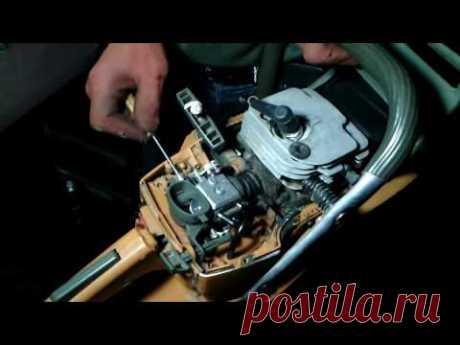 Chinese chiansaw. Repair of the carburetor. Adjustment of the carburetor.