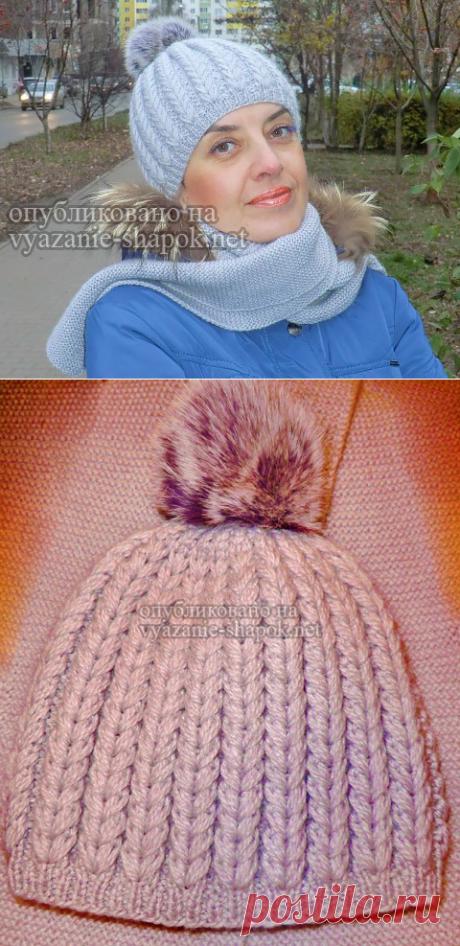 Красивая шапка спицами с рельефным узором от Светланы Красноперовой   Вязание Шапок Спицами и Крючком