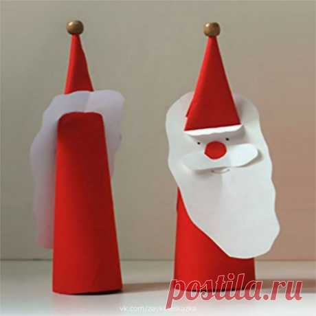 Дед Мороз из плотной бумаги — Поделки с детьми