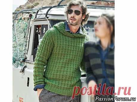 Мужской пуловер с капюшоном спицами.