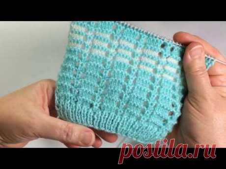 Ажур на лето / Вязание спицами / Easy Bicolor Lace Knit Pattern - YouTube