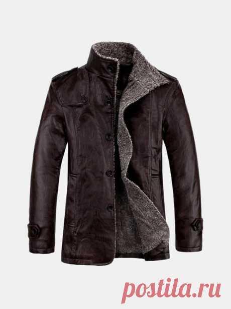 Мужская качественная искусственная кожа, облегающая плюшевая утолщенная теплая куртка - US $ 51,87