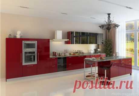 Кухня красного цвета в интерьере помещений. Изготовление на заказ по проекту заказчика.