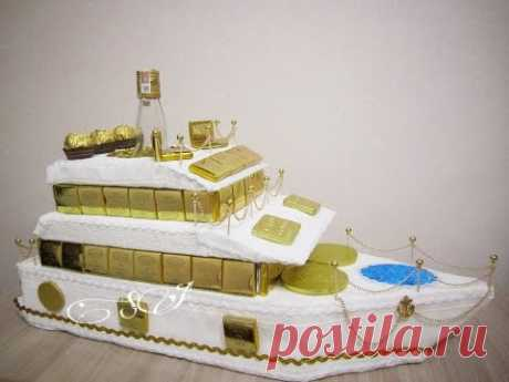 The yacht from candies. Detailed master class. A smart gift for February 23, birthday.