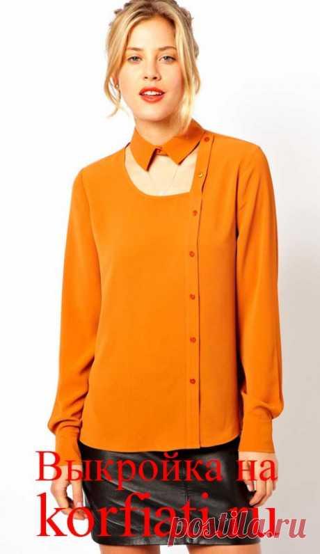 Выкройка блузки с воротником стойка от Анастасии Корфиати