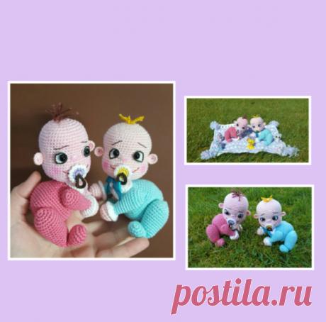 Anleitung Krabbel Babys Mädchen und Junge auf Decke 12 cm Groß