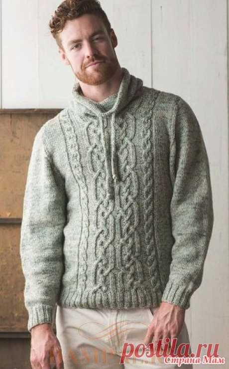 . Мужской пуловер «Топинамбур» Мужской пуловер с рисунками из жгутов украшен стильным воротником