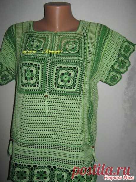 . Филейная блуза с отделкой мотивами - Вязание - Страна Мам