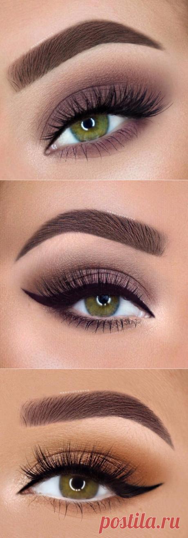 Варианты макияжа для зелёных глаз.
