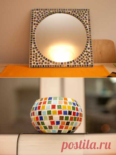The mirrors decorated by a mosaic. Master class