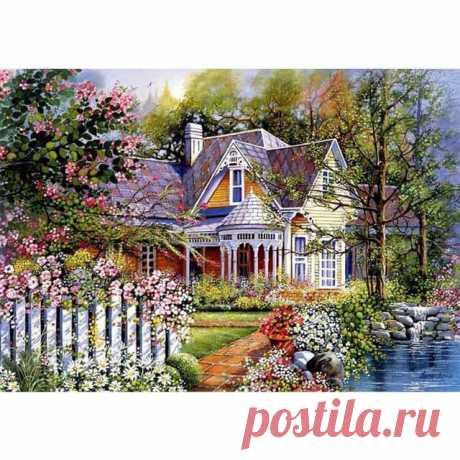 5D DIY Алмазная картина Живописный пейзаж дом Вышивка крестом полный квадрат Алмазная вышивка мозаика картина Стразы Декор|Алмазная роспись, вышивка крестом| | АлиЭкспресс