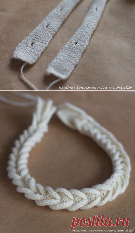 Интересный способ вязаной косички