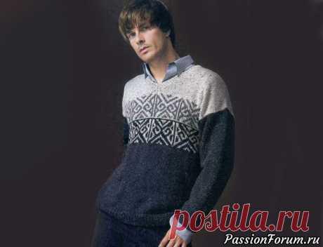 Мужской свитер с жаккардовым узором   Вязание для мужчин спицами.