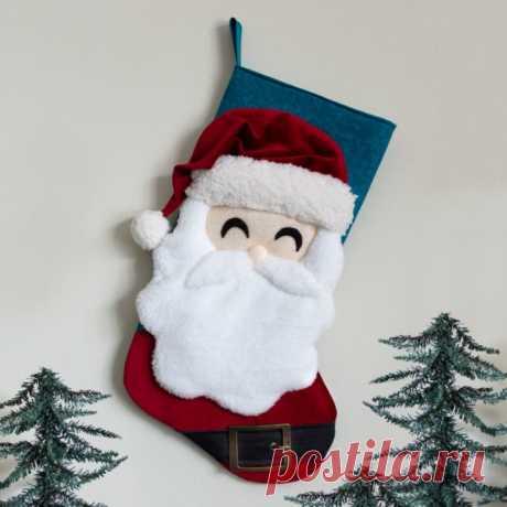 Санта-Рождественский чулок Швейный шаблон | Царапина и стежка