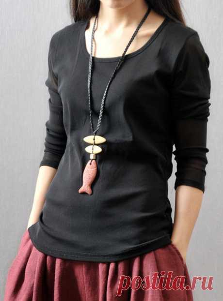 Black Stretch Cotton Slim Knit Tops Long Sleeve T-Shirt-Tops | Etsy