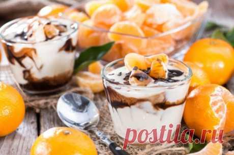Десерт из нежного творога с мандаринами