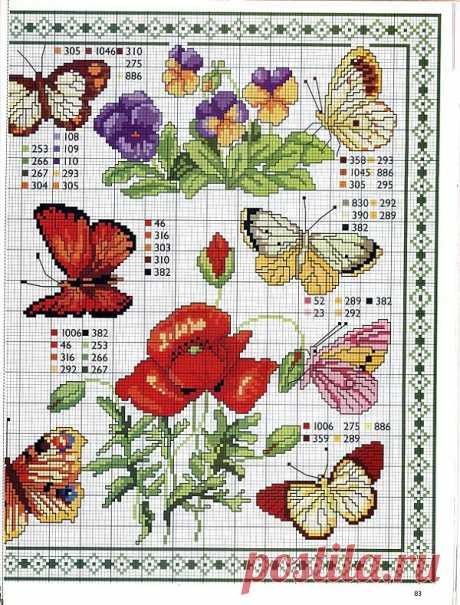 Схемы вышивки бабочек крестом / Схемы вышивки крестиком / PassionForum - мастер-классы по рукоделию