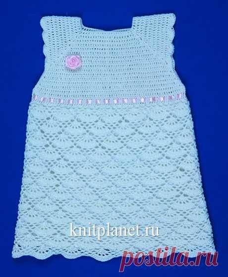 Планета Вязания | Мастер-класс по вязанию летнего платья крючком для девочки. Схема, видео урок по вязанию.