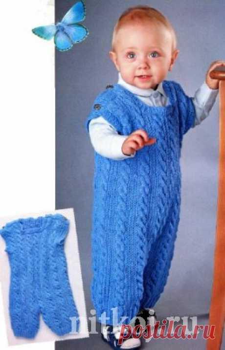Голубой комбинезон с косами » Ниткой - вязаные вещи для вашего дома, вязание крючком, вязание спицами, схемы вязания