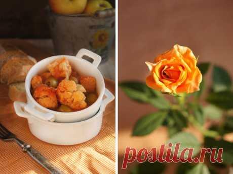 Заметки на кухонных занавесках - Цветная капуста с оливками в томатном соусе (Cavolfiore con olive)