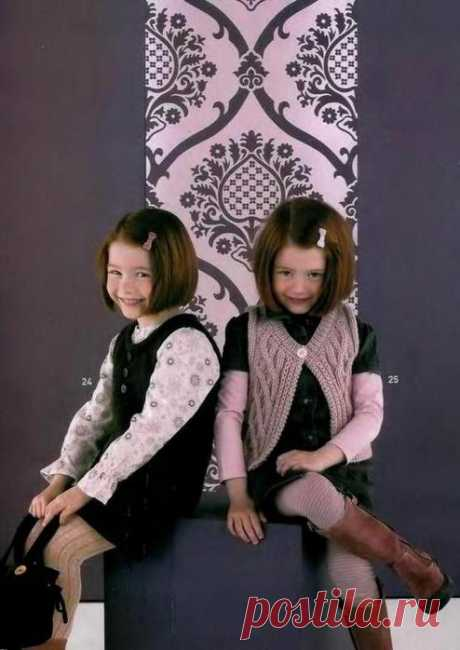 Безрукавочки для детей (спицы) Размеры от 2-х лет до 10.
