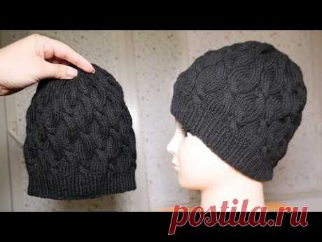 Шапка с косами спицами 🖤 Cable hat knitting pattern 💣