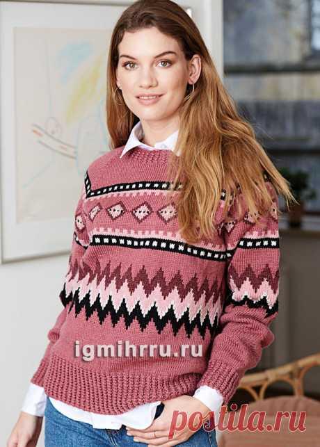 Шерстяной пуловер с разноцветным жаккардовым орнаментом. Вязание спицами со схемами и описанием