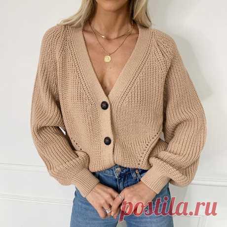Женский вязаный кардиган Zoki, модный осенний свободный свитер с длинным рукавом, повседневные толстые женские топы на пуговицах с V образным вырезом, 2021 вязаные безрукавки