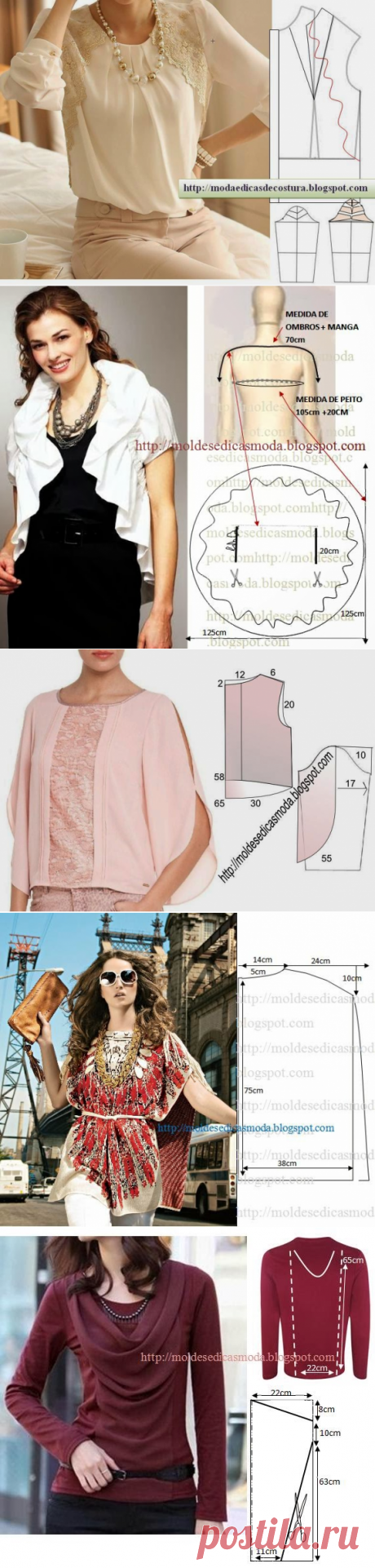 Блузки и выкройки к ним. будьте модными!
