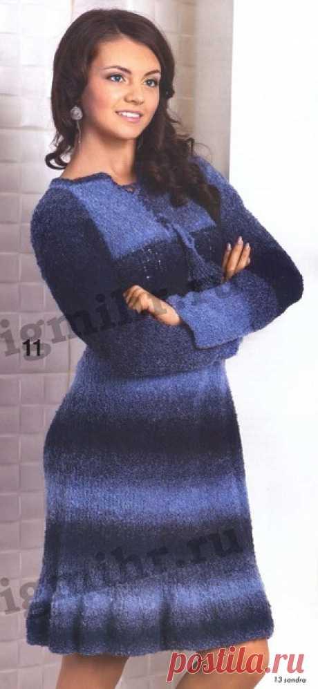 Вязаное меланжевое платье Вязаное меланжевое платье В статье представлены подробное текстовое описание вязания спицами данной модели и схема узора.