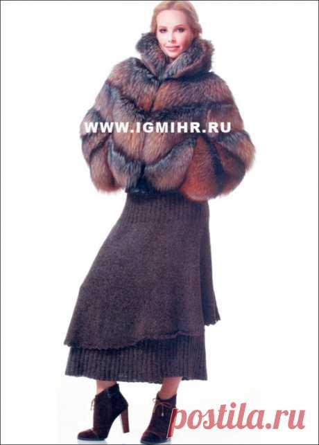 Коричневая теплая юбка, связанная по кругу сверху вниз спицами . Милая Я