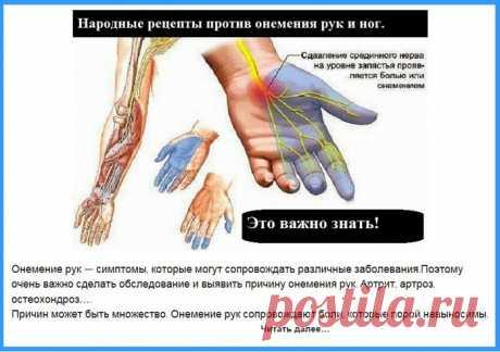 Народные средства против онемения рук и ног.