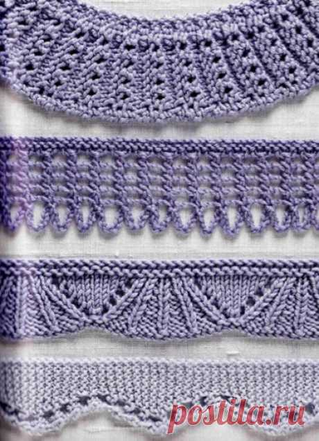 72 узора спицами для оформления края изделия... Коллекция красивых узоров для оформления края спицами!