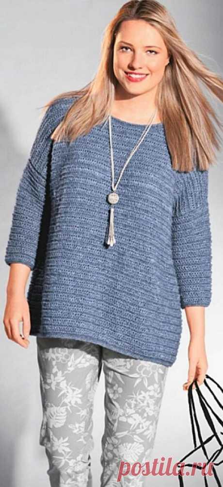 Симпатичный пуловер спицами с описанием и выкройкой