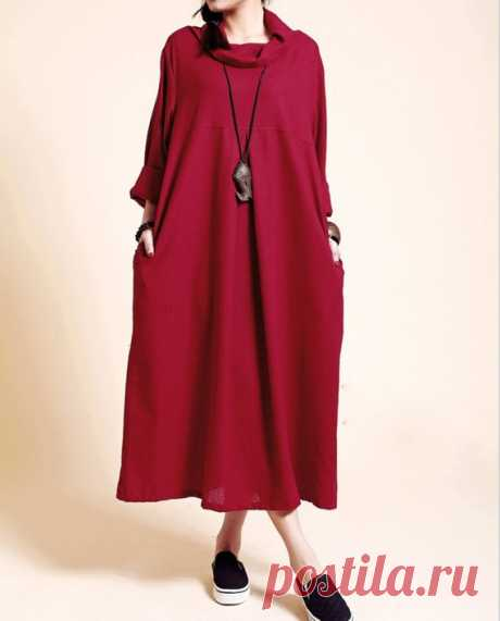 Linen Loose Fitting dress, Maxi dress in dark red, Kaftan dress, women Turtleneck Dress 【Fabric】 Cotton, linen 【Color】 dark red 【Size】 Shoulder 42cm/ 16.4  Bust 110cm/ 43 Sleeve 53cm/ 21 Waist 120cm/ 47  length 116cm/ 45.2 Hem 160cm/ 62   Have any questions please contact me and I will be happy to help you.
