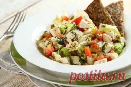 Салат с гренками и курицей – пошаговый рецепт с фото.