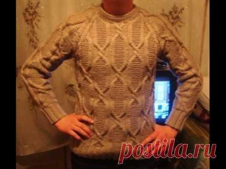 "Мужской пуловер спицами с рукавом ""реглан"" Часть 1. Men's sweater knitting - YouTube"