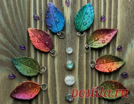 Кулоны-листочки из полимерной глины