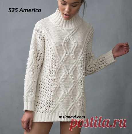 Вязаный свитер спицами от 525 America - Вяжем с Лана Ви Вязаный свитер спицами от 525 America— белоснежный свитер из интернет-магазина.Хотя ранееэта же идея, но в немного другом варианте, была уPHILLIP LIM. В этом вязаном свитере видоизменены ветвистые араны, ажурные вставки также поменяны местами, и немного поубавили шишечек, т.е. применили фантазию к дизайнерской модели. Получилось нарядно, более классически, и приемлемо для любого возраста. Свитер немного приближен […]