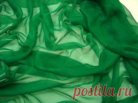 Однотонный шифон - насыщенный зеленый - купить ткань онлайн через интернет-магазин ВСЕ ТКАНИ
