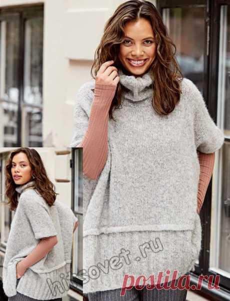 Модное свитер-пончо оверсайз. Спицами. / Хитсовет