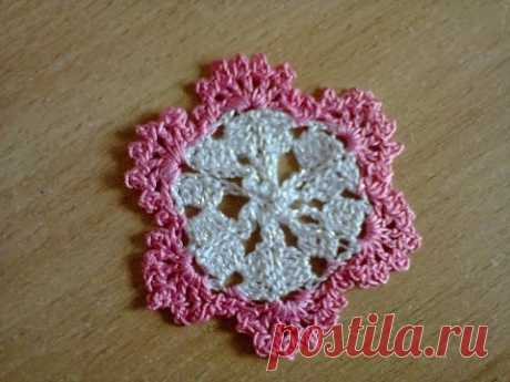 МК  вязание крючком (мотив цветочек) ч.2. MK Crochet (flower motif) Part 2.