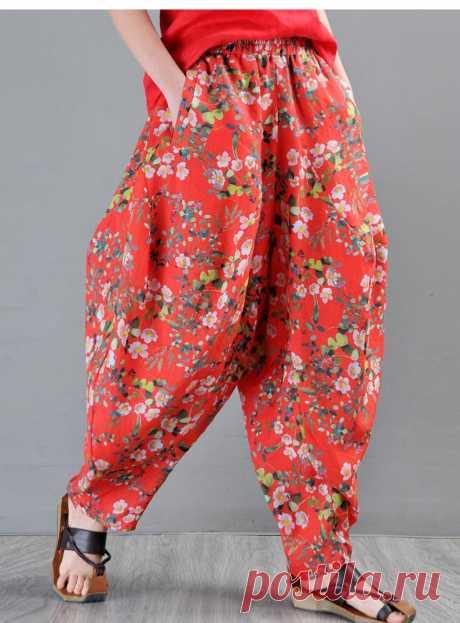 Ramie Printed Harem Pants-Ladies bloomers-Bohemian | Etsy