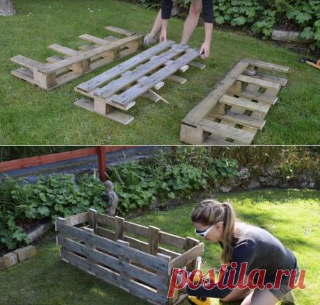 Девушка разрезала деревянный поддон на 3 части. Отличная идея для дачи!