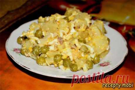 Салат с сардиной консервированной «Настроение»  ✅Ингредиенты сардина консервированная – 1 б;  плавленый сырок – 2 шт;  горошек зеленый – 1 б;  картофель – 4 шт;  горчица – 1 ч. л;  соль – 1 ч. л;  яйца куриные – 4 шт;  уксус – 1 ст. л;  оливковое масло – 3 ст. л.